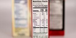 Food label on a box