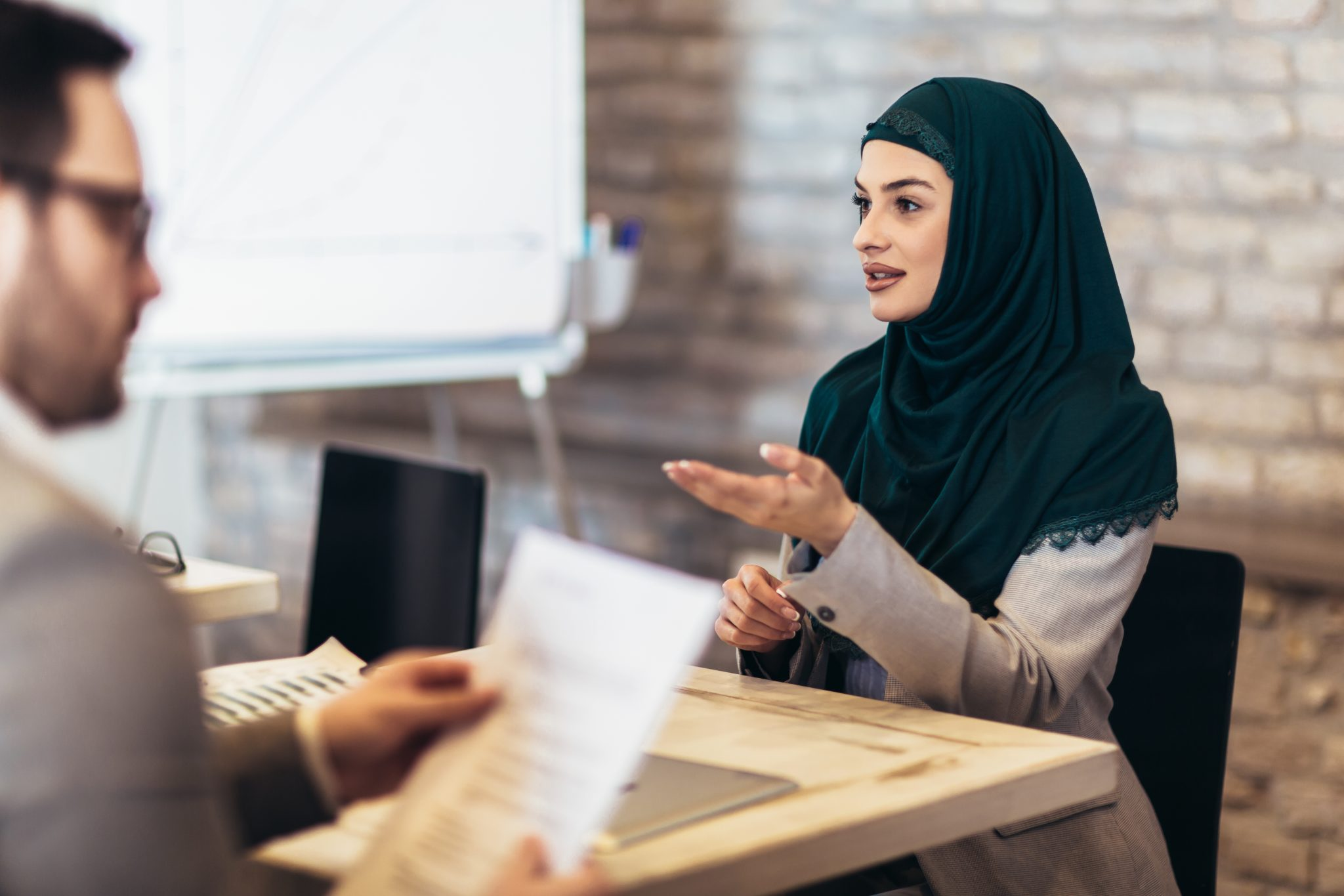 Young Muslim woman at a job interview