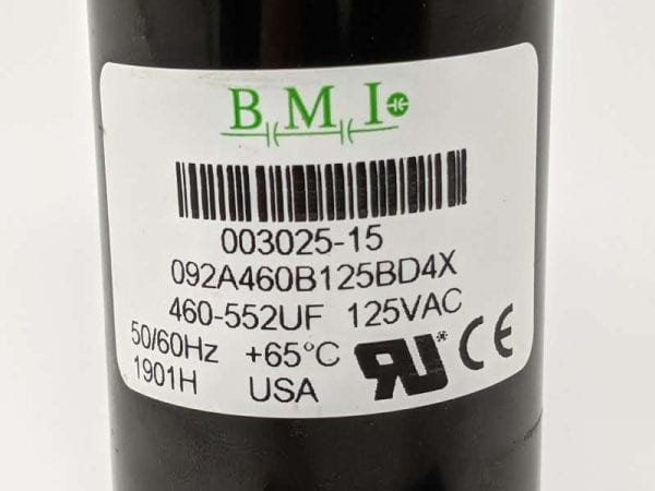 Figure 4. Example label from a start capacitor. The label contains important information including the capacitance range (460 to 552 μF), voltage rating (125 V), and electrical frequency (50 or 60 Hz).
