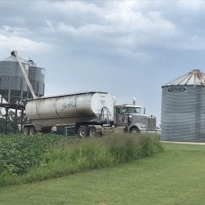 Figure 5. Antibiotic feed is delivered to catfish farms and stored in commercial feed bins prior to feeding catfish.