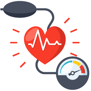 Illustrated heart with blood pressure cuff