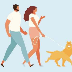 Illustrated people and dog