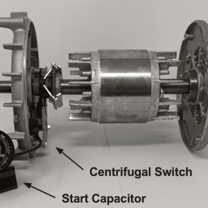 Figure 6a. Start capacitor connected to a centrifugal switch fixed on the rotor .