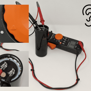 Figure 9a. To test electrical continuity between the dielectric layers, turn the multimeter to the continuity position (Figure 9b) and then place one multimeter probe on each of the two tabs (Figure 9c). A beeping sound indicates that the capacitor is bad and should be replaced.