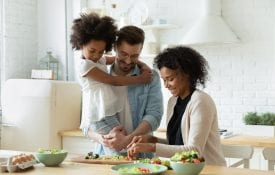Young interracial family
