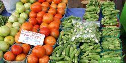 tomatoes, okra on table