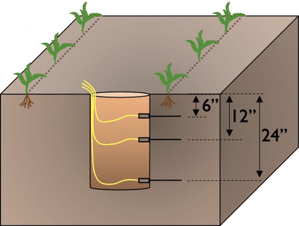 Figure 10. Step 2 of time domain reflectometry soil sensor installation.