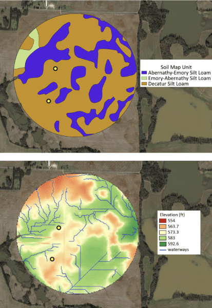 Figure 4. Soil texture map with soil series map (top) and terrain elevation map showing the waterways (bottom) of a 300 acre field. Yellow dots are suggested locations for soil sensor installation.