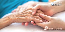 Closeup of adult hands holding the hand of a senior adult