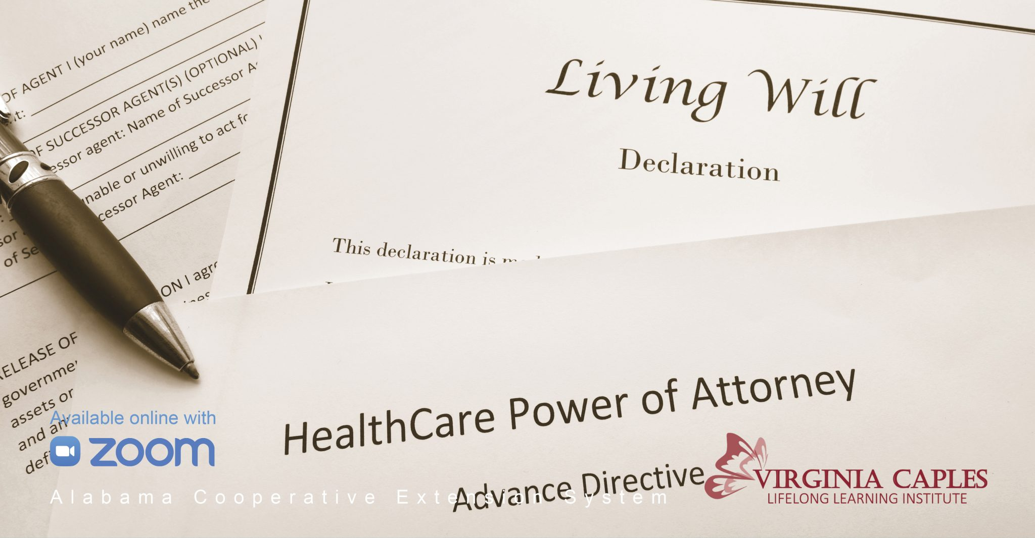 A Living Will and Health Care Power of Attorney lay in a stack of other important papers