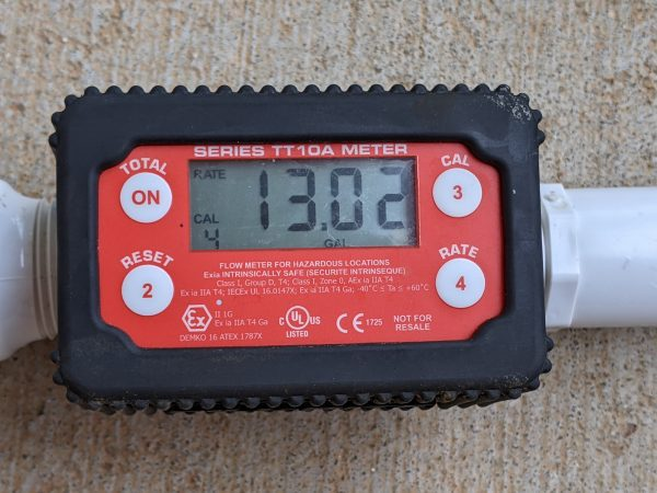 Figure 11. Fill-Rite TT10A series meter displaying the water flow rate at 13.02 gpm.
