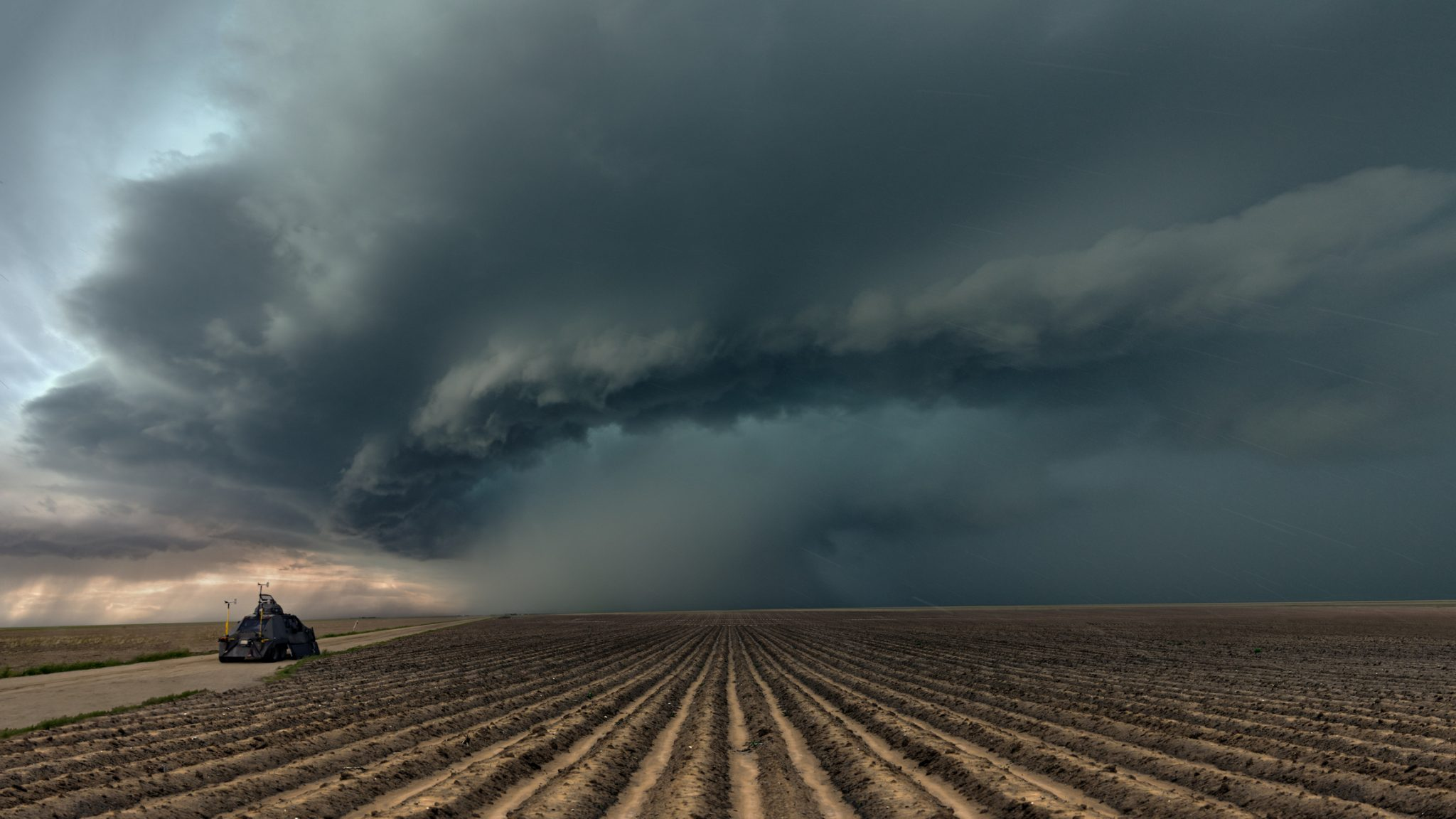 Severe weather over a row crop field