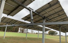 Figure 2. Fixed-mount PV panel array, single-axis tracking PV array.
