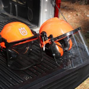 Figure 8. Hard hat face shields can be clear plastic or mesh.
