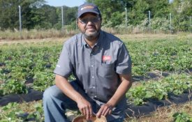 Dominguez Hurry, SNAP-Ed educator in Macon and Bullock Counties, poses for a photo after picking strawberries in a school garden.