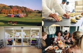A collage of a farm, grocery store, people at lunch, and a professional kitchen