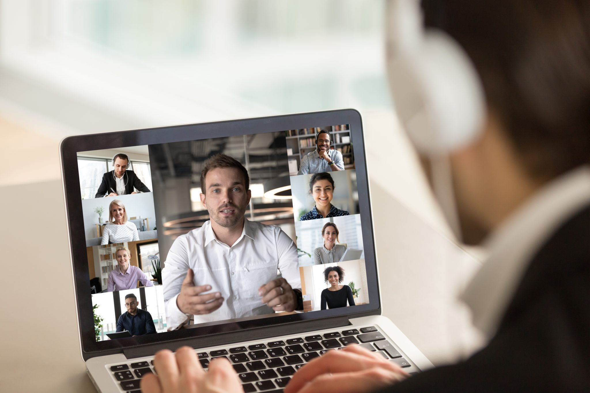 A group of people on a virtual interview