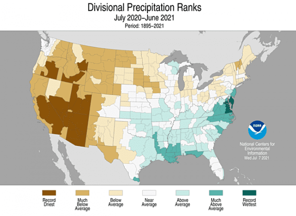 Figure 16. County precipitation ranks, February 2020. Credit: National Oceanic and Atmospheric Administration
